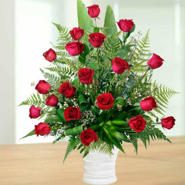 20 Red Roses Arrangement in ceramic Vase