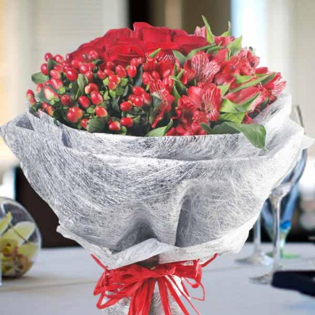 12 Red Roses with Astromelia Handbouquet
