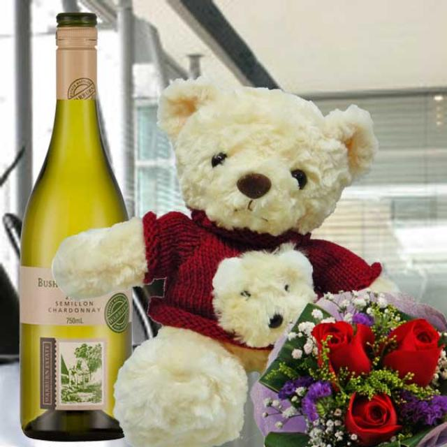 "3 Red Roses With 8"" Red Sweater Teddy Bear & European White Wine"