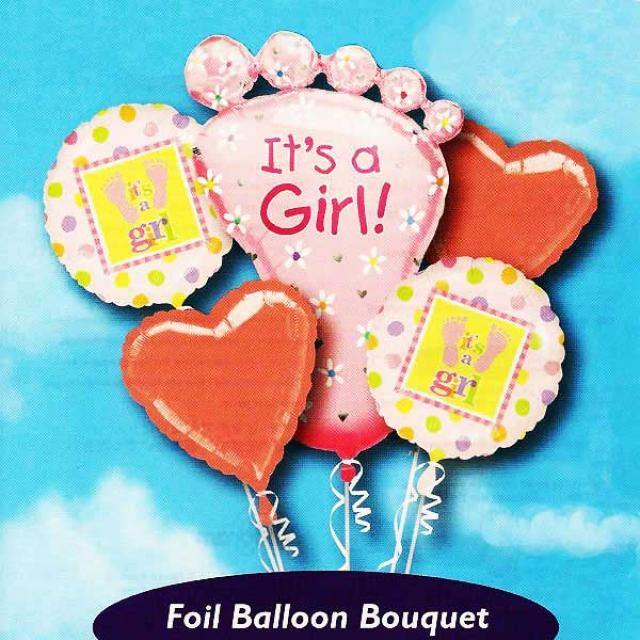 It's a Girl! Floating Helium Bouquet Balloons ( 5pcs )