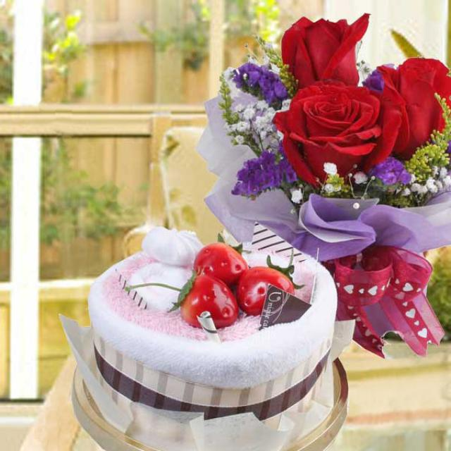 Towel Cake & 3 Red Roses Standing Bouquet
