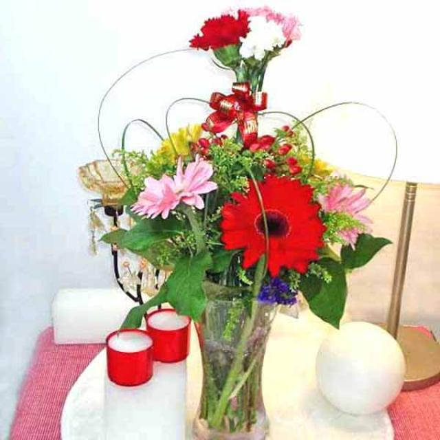 Gerbera & Carnation Mixed in Glass Vase