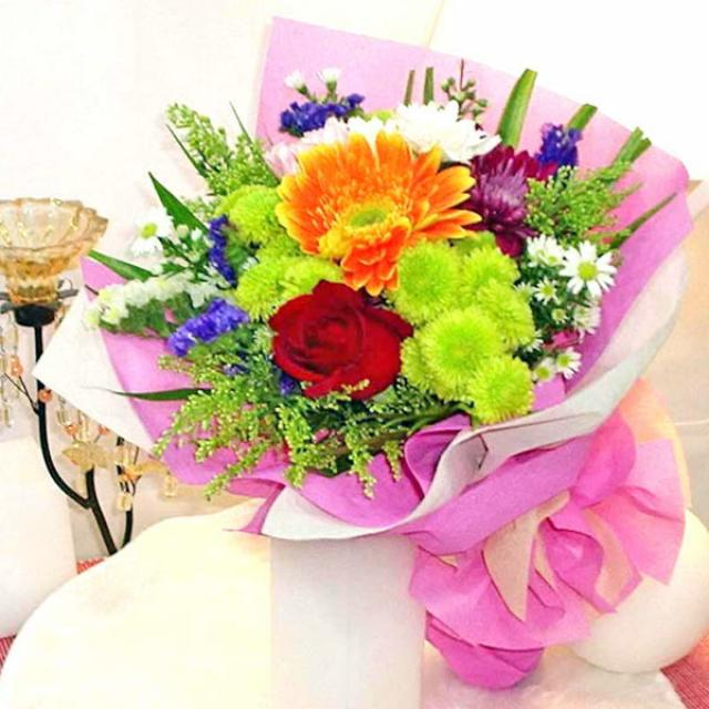 Mixed Flower, Rose, Chrysanthemum & Gerbera Handbouquet
