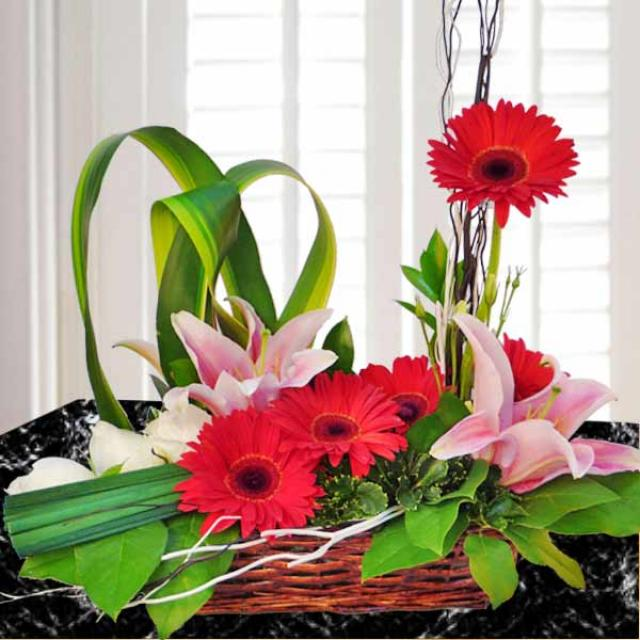 Mixed Lily, Roses & Gerbera Basket Arrangement.