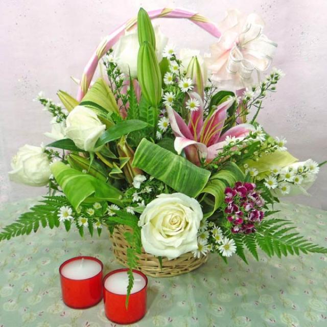 3 Pink Lilies and 8 White Roses Basket Arrangement