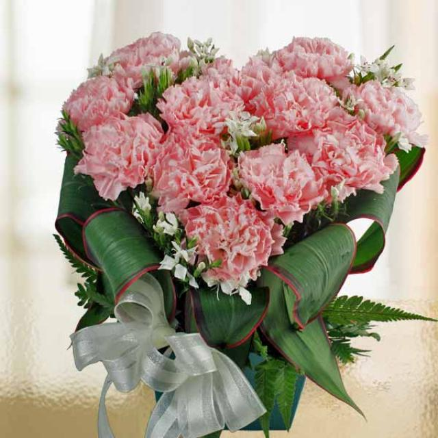12 Pink Carnations Heart-Shape Table Arrangement in Plastic Container