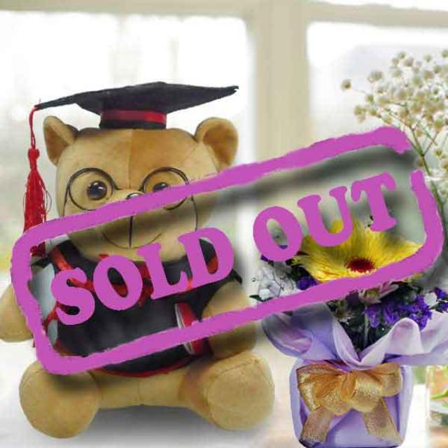 9 inches Graduation Teddy Bear with Yellow Gerbera