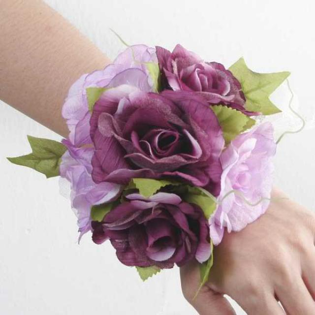 Artificial Purple Roses Wedding Wristlet