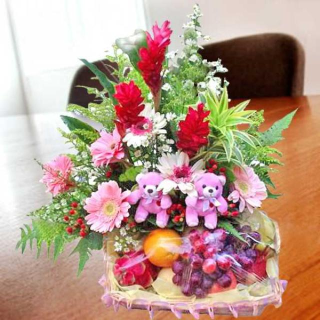 Pink Gerberas With Fruits & 2 Bears