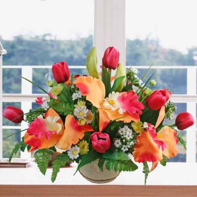 Artificial Red Tulips & Orchids Arrangement