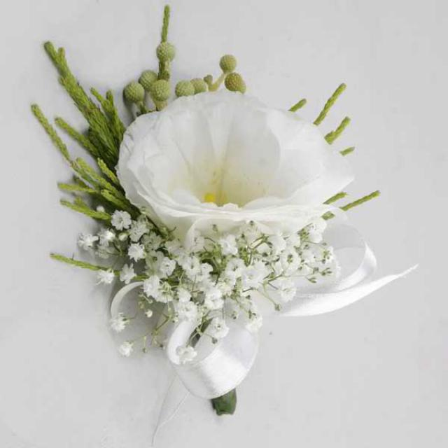 White Eustoma Corsage. ( Add-On Only, No Delivery )