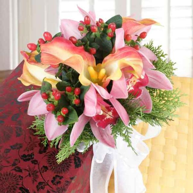 Cymbidium orchids & Orange Calla Lilies Hand Bouquet