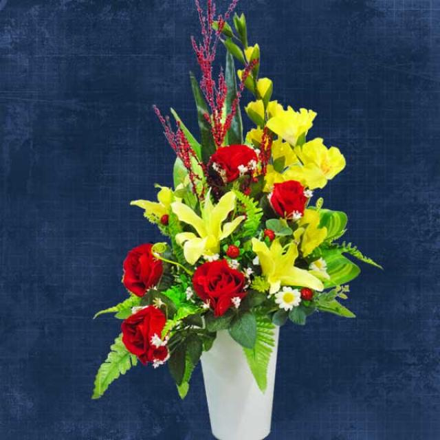 Artificial Yellow Lilies & Red Roses Table Arrangement