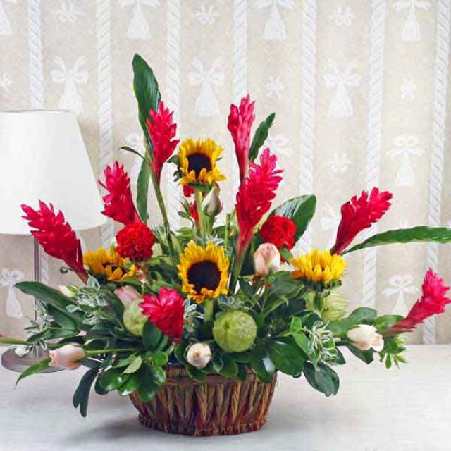 Ginger Flowers & Sunflowers Table Basket Arrangement