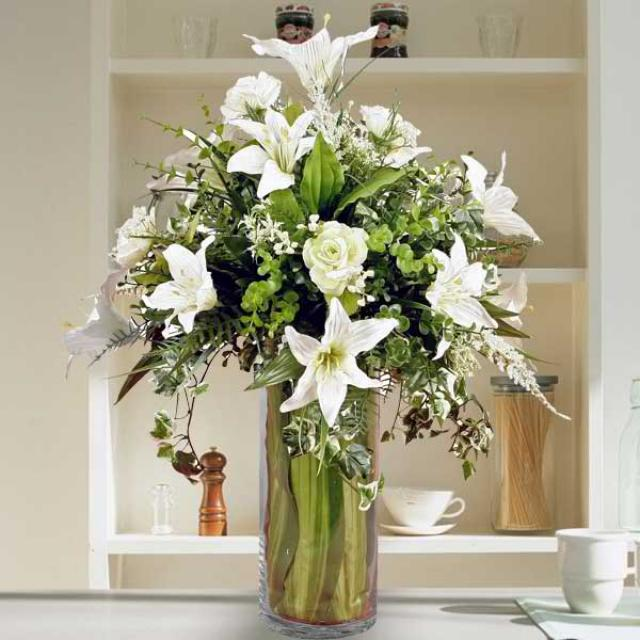 Singapore florist buy flowers from singapore florists artificial white lilies roses in glass vase arrangement mightylinksfo
