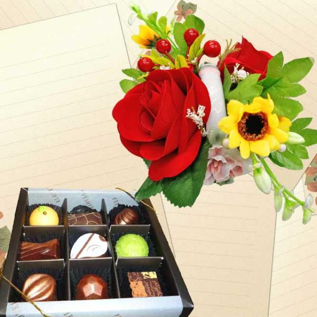 Gourmet (Fresh)Chocolate 9 pcs With Artificial Flowers