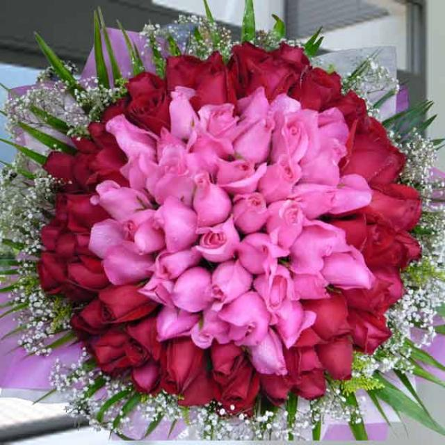 99 Roses ( 40 Hot Pink & 59 Red ) Hand Bouquet