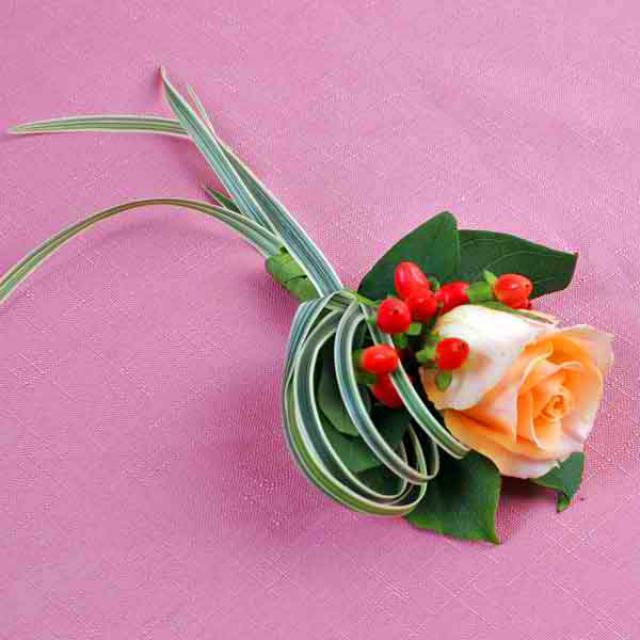 Champagne Rose & Hypericum Corsage (Add-On Only, No Delivery)