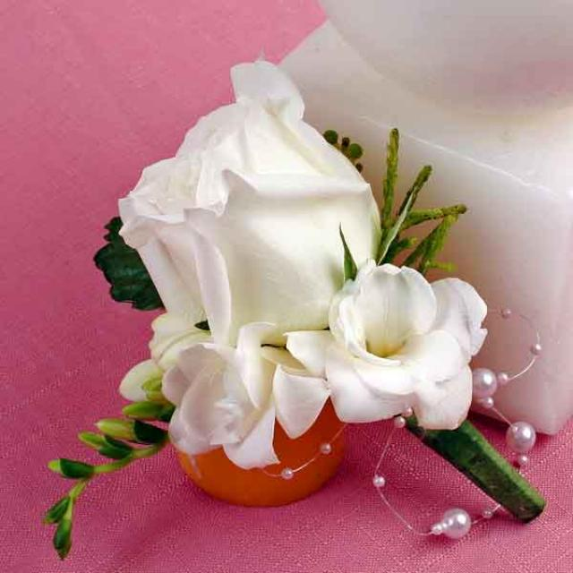White Rose & Freesia Corsage ( Add-On Only, No Delivery )