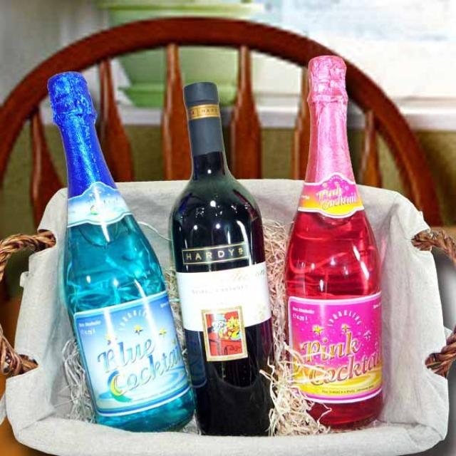 Australian red wine 750 ml with Pink and Blue Sparkling non-Alcoholic cockta