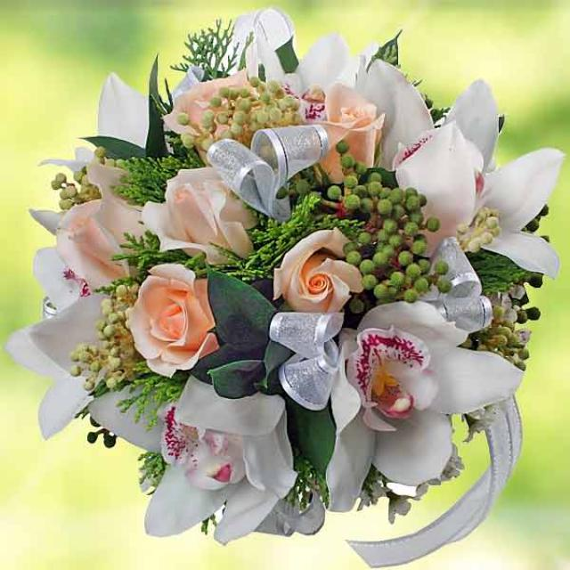 White Cymbidium Orchid Bouquet ( 3 Days Advance Order )