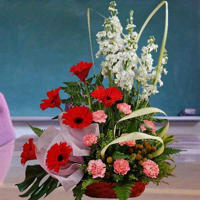 Red Gerberas & Pink Carnations Basket Arrangement