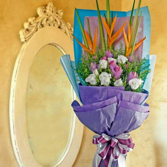 10 Purple Tulips & Heliconia Long Bouquet