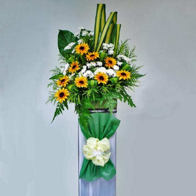 Artificial Sun Flowers & Fresh White Pompom in Box Stand for Opening Flower Arrangement.