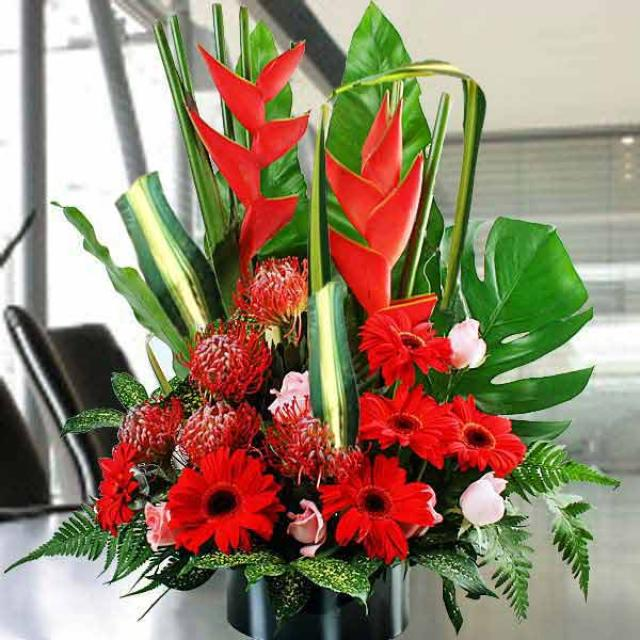 Heliconia & Gerbera Flowers Table Arrangement