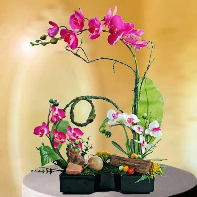 Artificial Phalaenopsis Orchids Arrangement.