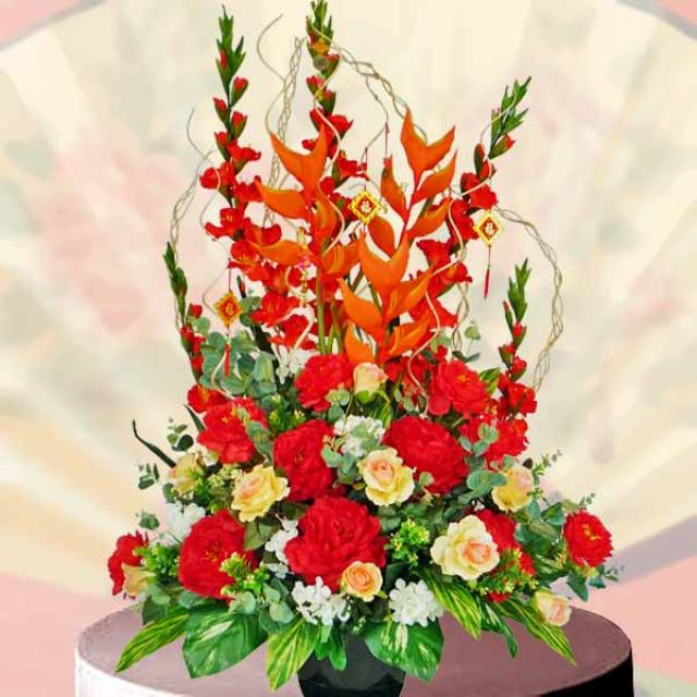 Artificial Heliconia & Gladiolus Flowers Table Arrangement