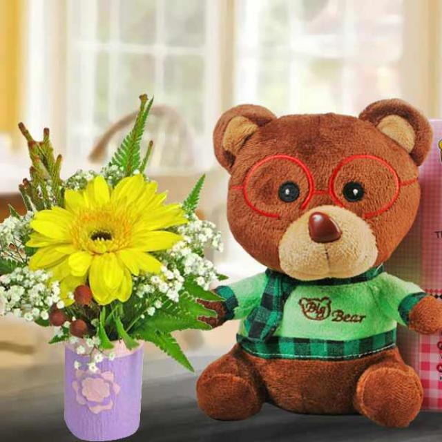 "Yellow Gerbera and 6"" Bear with Voice Recorder"