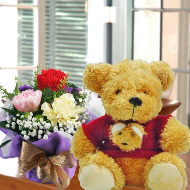 "8"" Teddy Bear & Carnation Handbouquet"