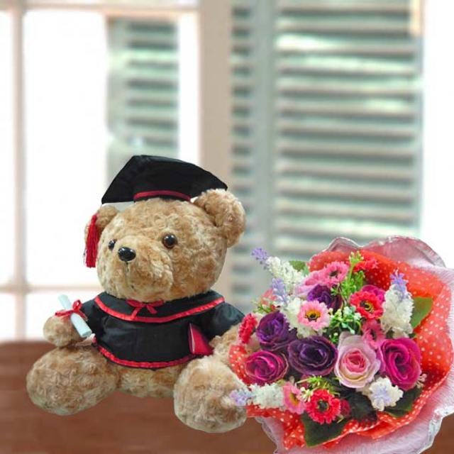 18cm Graduate Bear & Artificial Roses Bouquet
