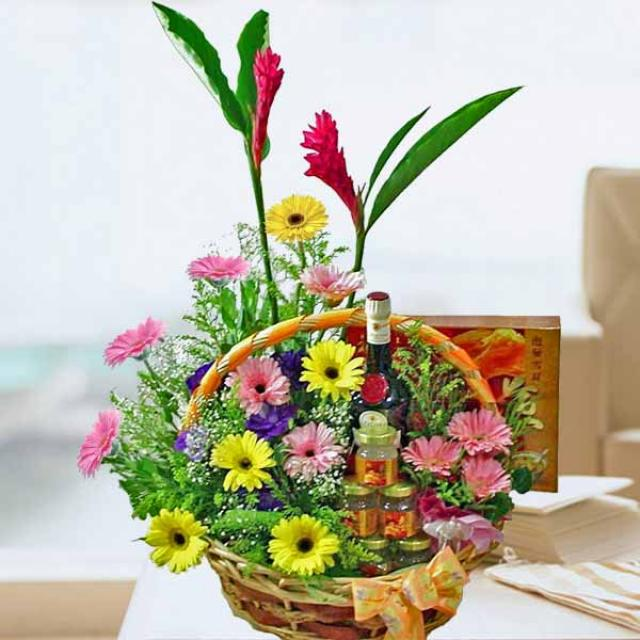 Benedictine DOM 375ml with bird's nest x 6 Bottles and Gerbera arrangement.