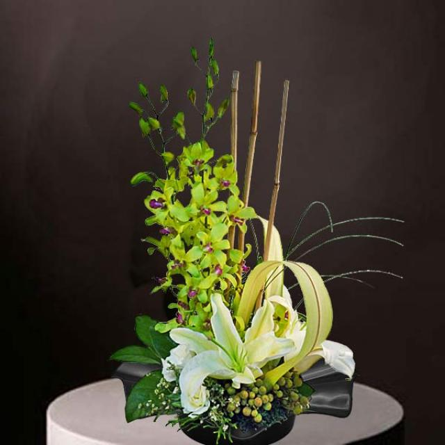 Green Orchid & Lily Table Arrangement