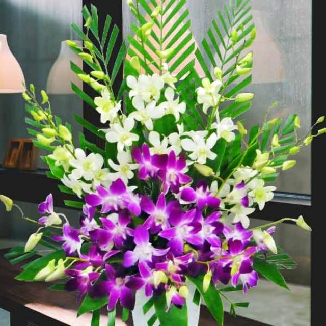 Gladiolus & Orchids Table Arrangement