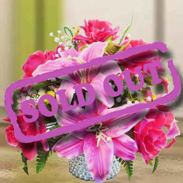 Artificial Hot Pink Roses & Lilies Flowers Table Arrangement