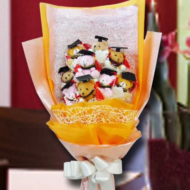 9 Graduation Bear Bouquet