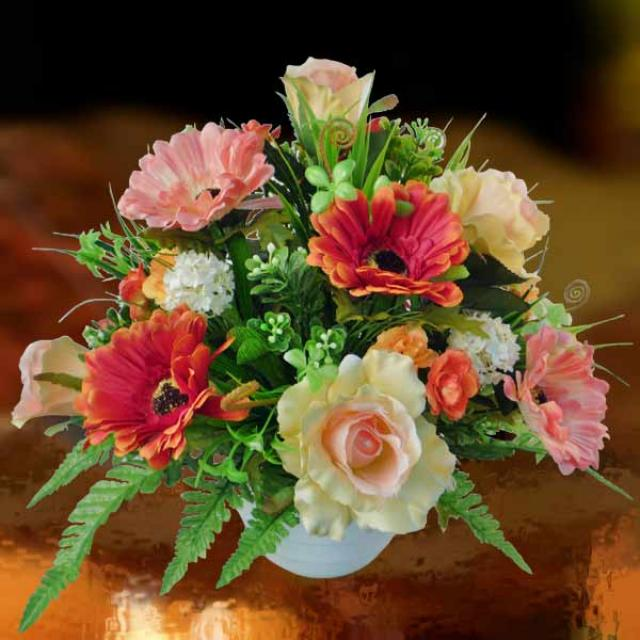 Artificial Champagne Roses and Orange Gerbera...