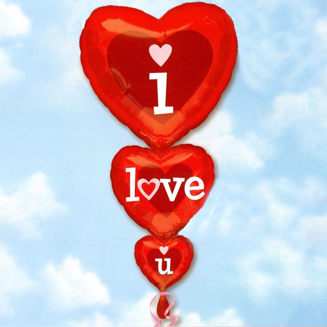 Add-On 90cm Height Helium Filled Heart Shape (I Love You) Foil Floating Ball
