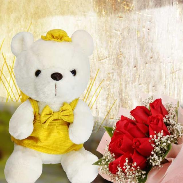 12 Red Roses Posy With 25cm Pink Bear