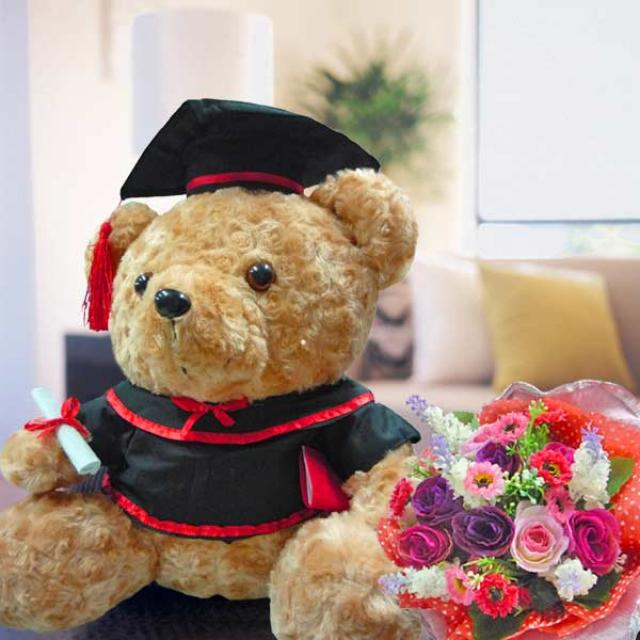 "14"" Graduation Bear & Artificial Roses Posy"