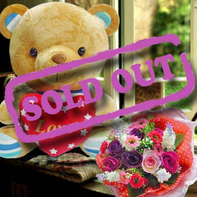 "10"" Bear With Artificial Roses Hand Bouquet"