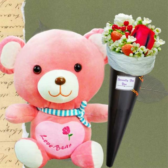 25cm Hug Me Bear & Mini Red Rose Bouquet