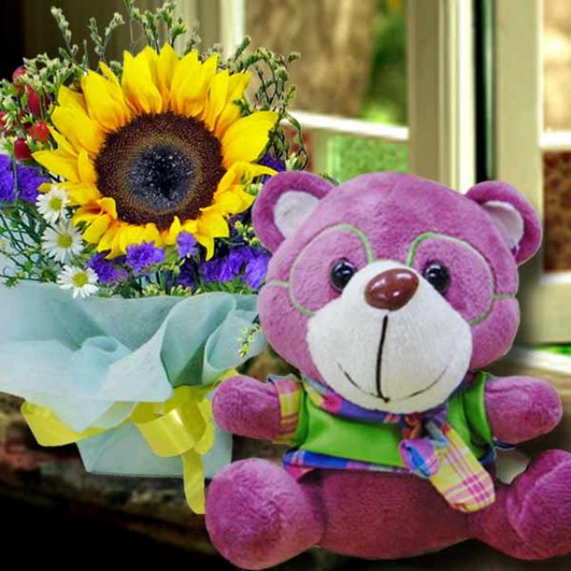 Bear 15cm & Sunflower Standing Bouquet