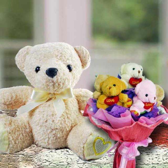 10 inches Bear & 7 MiniBears Bouquet