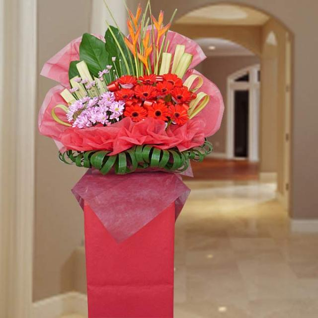 Red Gerbera Arrangement on Opening Stand