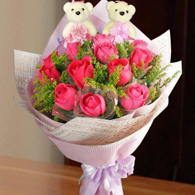 Hot Pink Roses & 12cm 愛你宝贝 Bears Bouquet