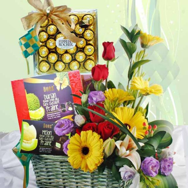 Fresh Flowers & Chocolates Gift Basket